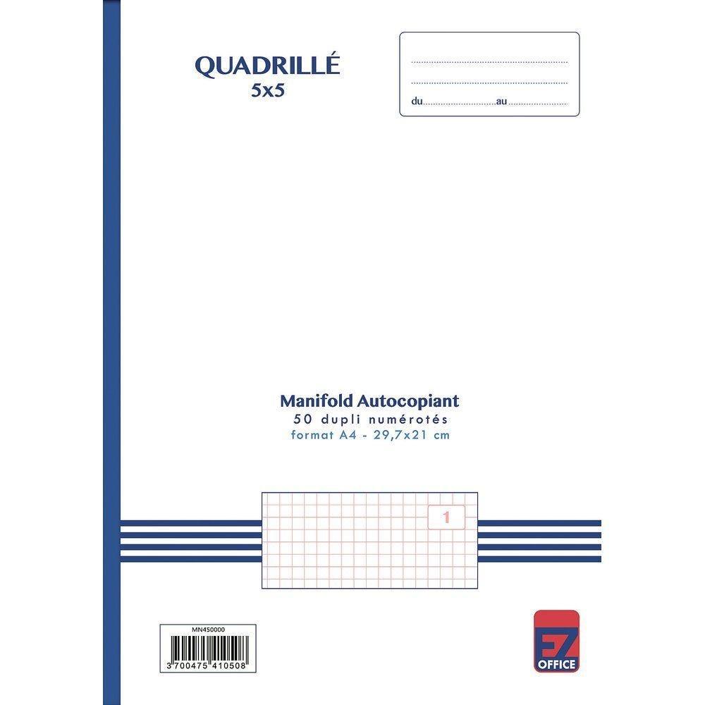 Manifold autocopiant quadrillé 5x5 format A4 50 dupli