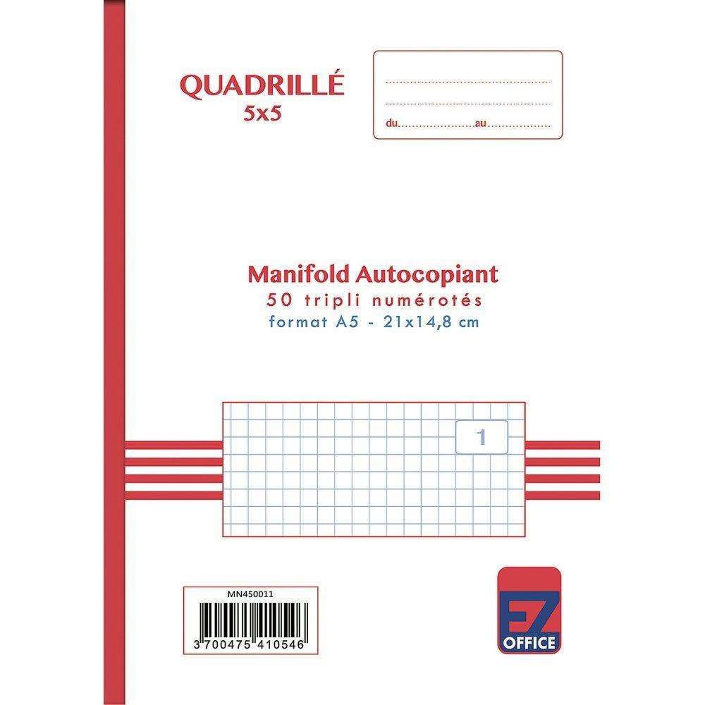 Manifold autocopiant quadrillé 5x5 format A5 50 tripli par lot de 2