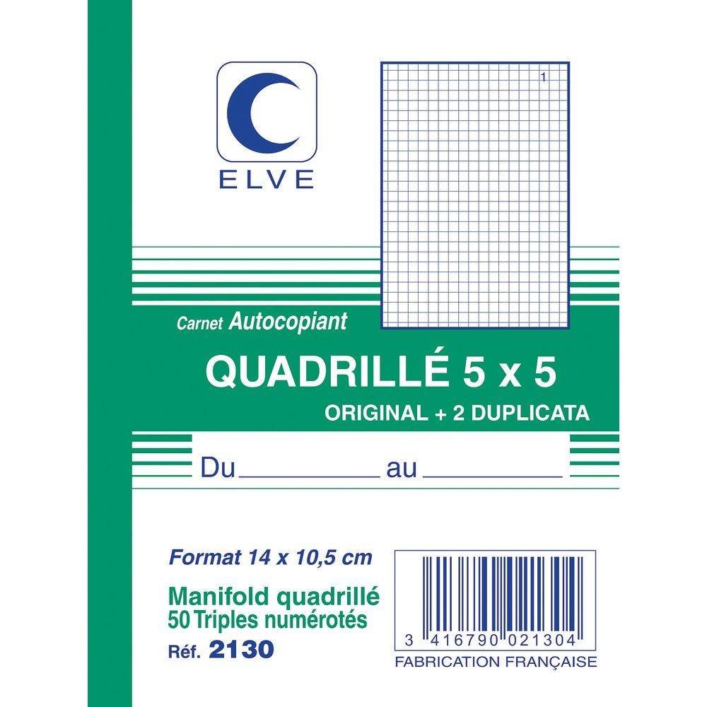 Manifold autocopiant quadrillé 5x5 format A6 50 tripli par lot de 3