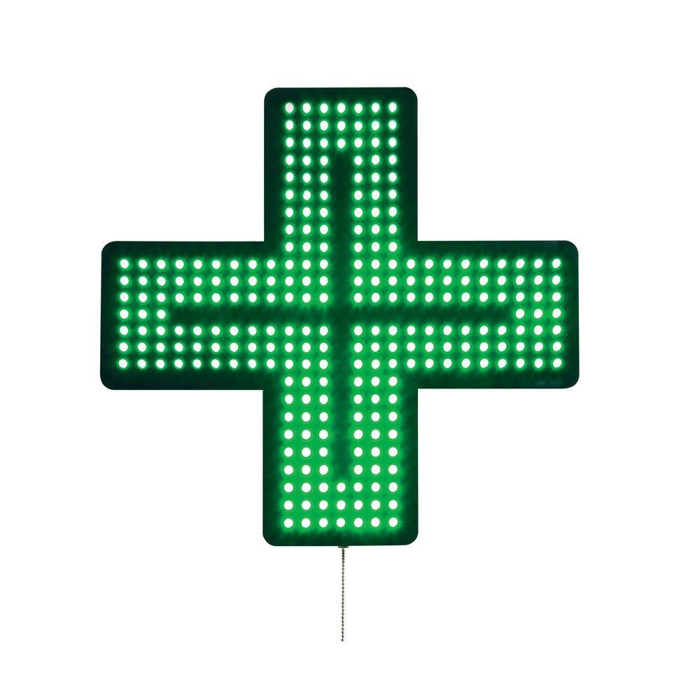 Croix de pharmacie lumineuse 35 x 35 cm (photo)