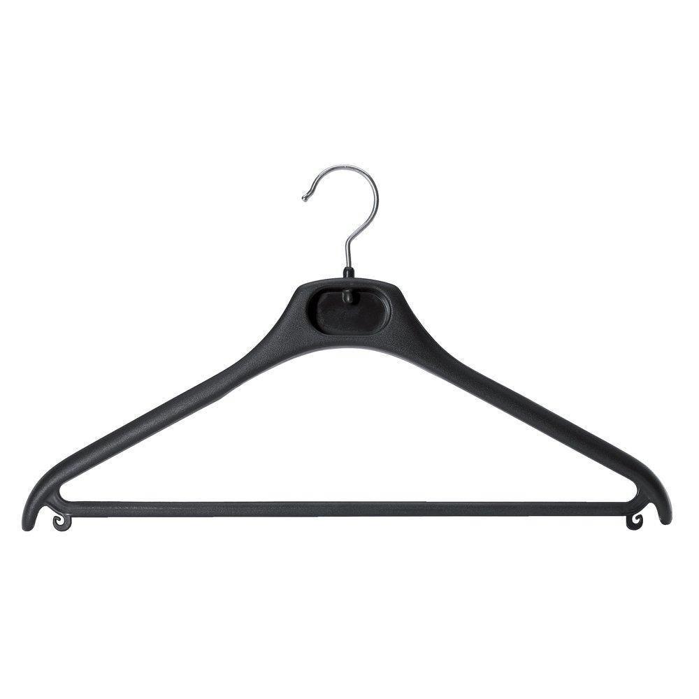 Cintre plastique noir avec barre et crochet tournant - par 50 (photo)