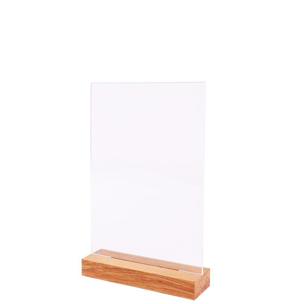 Porte-affiche plexi transparent A5 avec socle bois