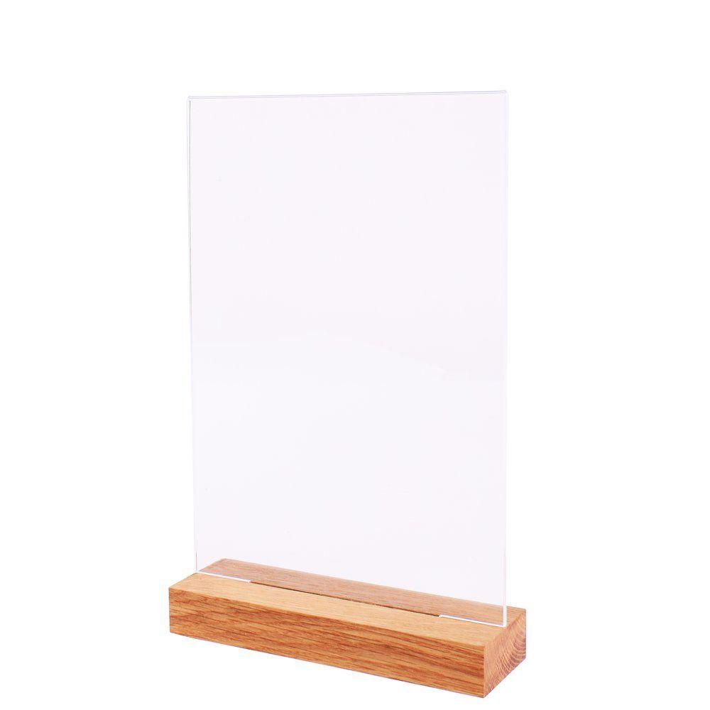 Porte-affiche plexi transparent A4 avec socle bois