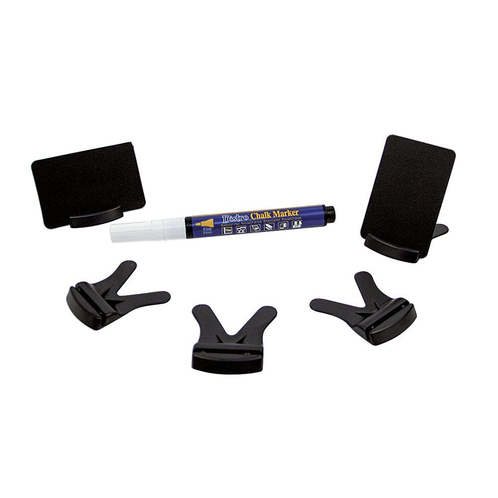 Etiquette noire 8x5.5 cm+socle+1 marqueur craie Indoor pte ronde 2 mm - par 25