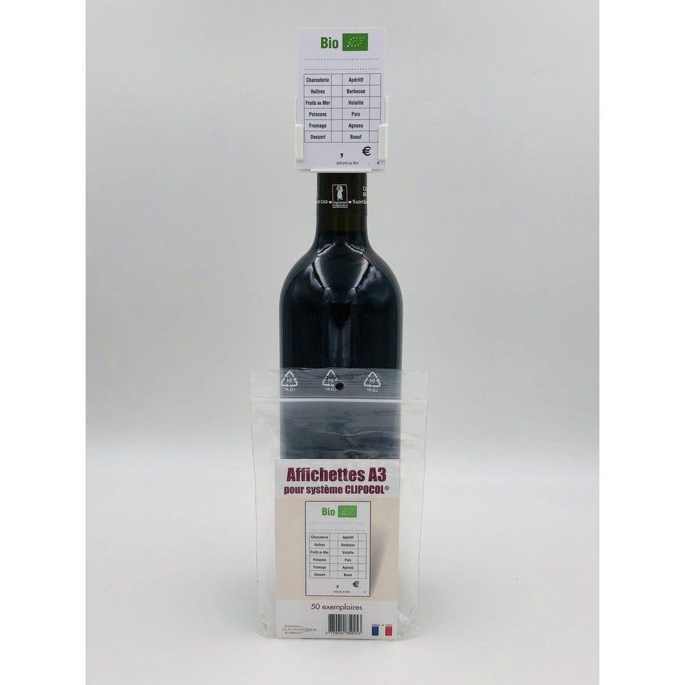 Affichettes bouteille pour Clipocol Bio 4,8x7,5cm - par 50