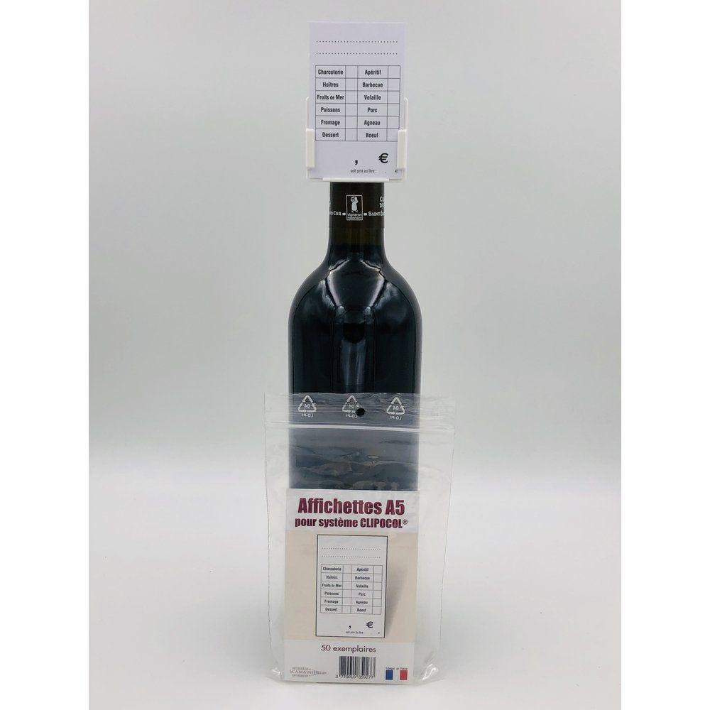 Affichettes bouteille pour Clipocol Standart 4,8x7,5cm - par 50