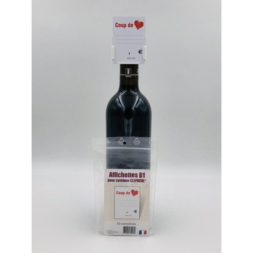 Affichettes bouteille pour Clipocol Coup de Coeur 4,8x6,5cm - par 50