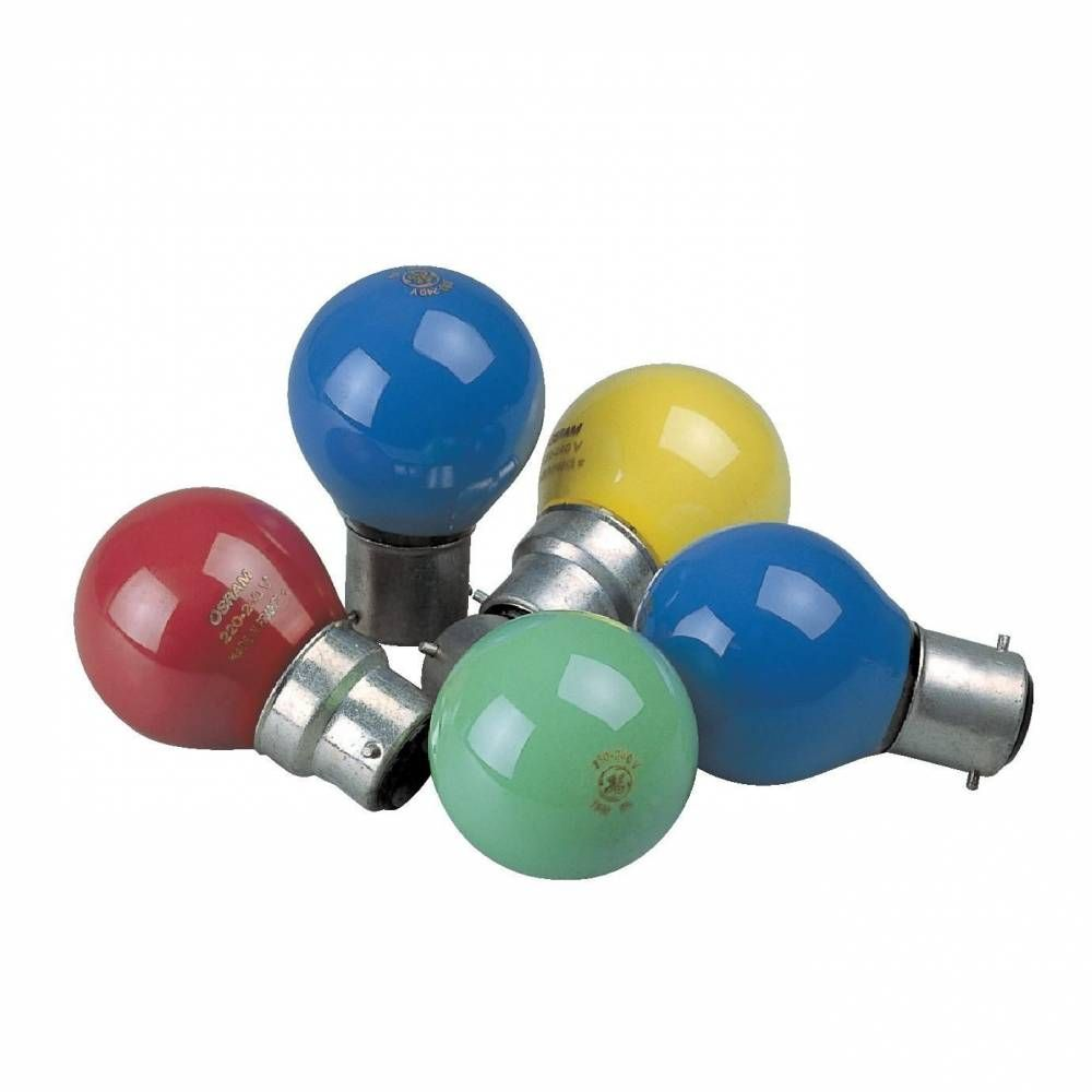 Lampes 4 coloris b22 - 15w  pour guirlande d'extérieur par 24 pour décoration (photo)