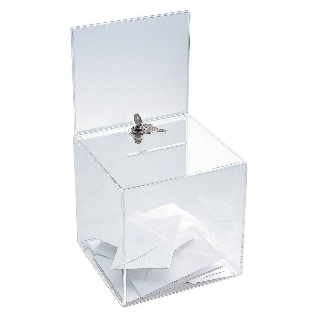 Urne plexiglass avec porte affiche 20x20x38cm