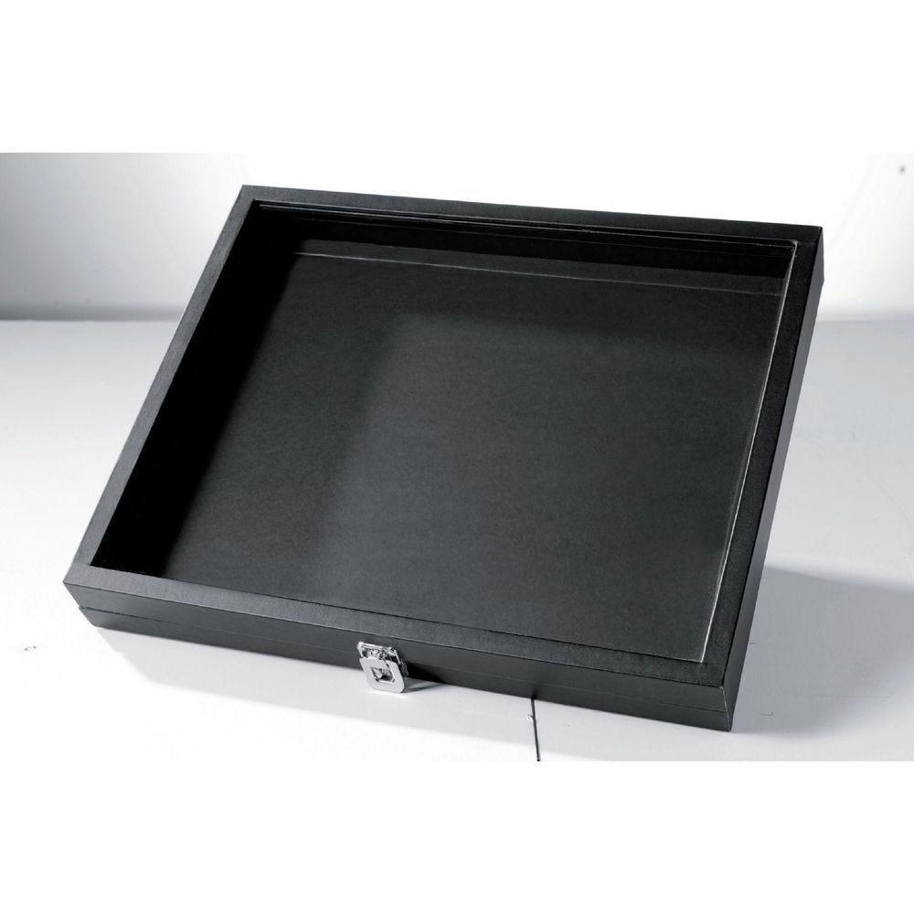 Boîte à bijoux noire - 44 x 36 x 5.5 cm (photo)