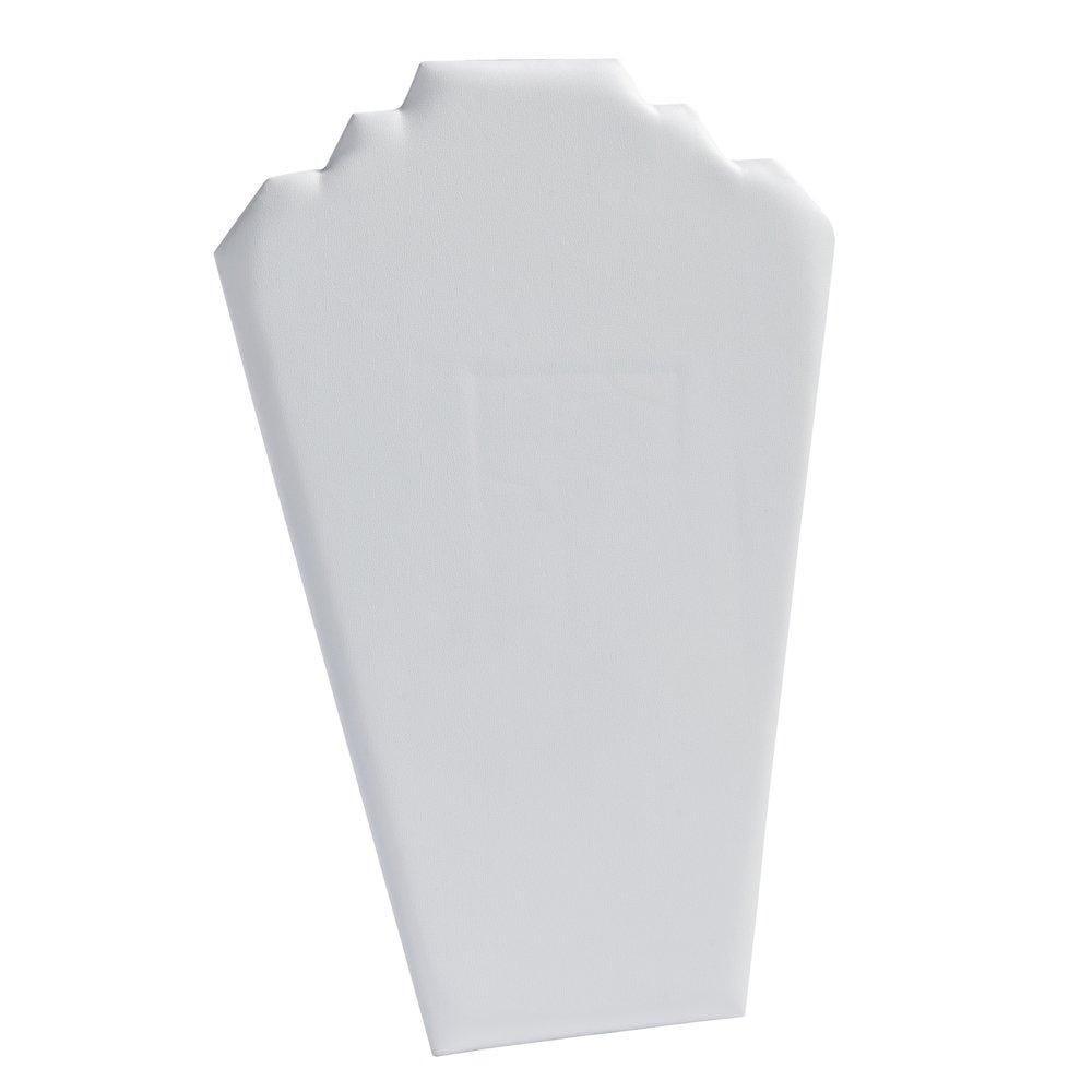 Présentoir collier plat simili cuir blanc H31cm