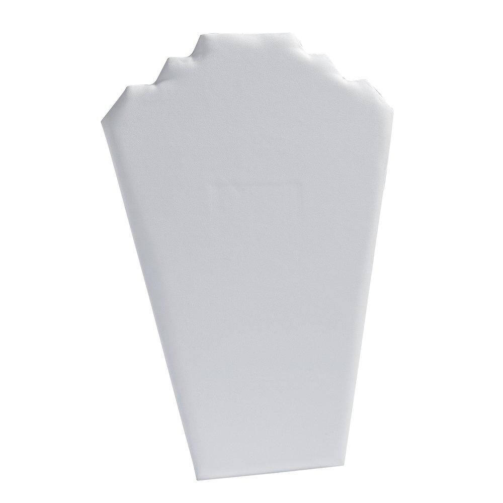 Porte collier plat simili cuir blanc H35cm