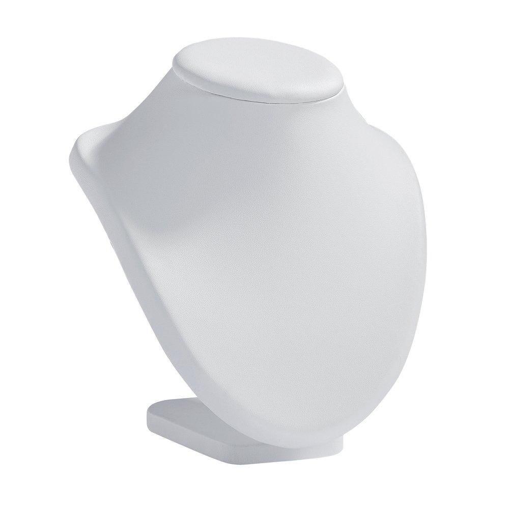 Présentoir collier sur socle simili cuir blanc L17xP18xH20cm