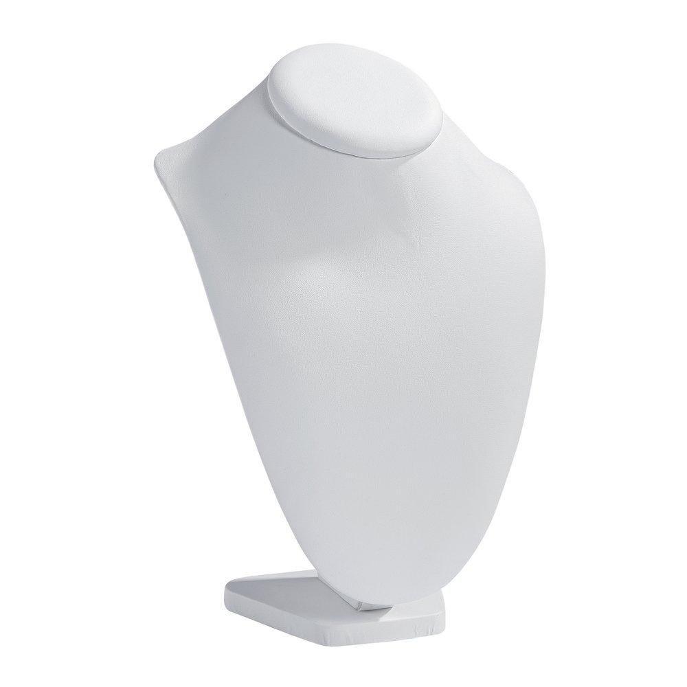 Présentoir collier sur socle simili cuir blanc L12xP18xH27cm