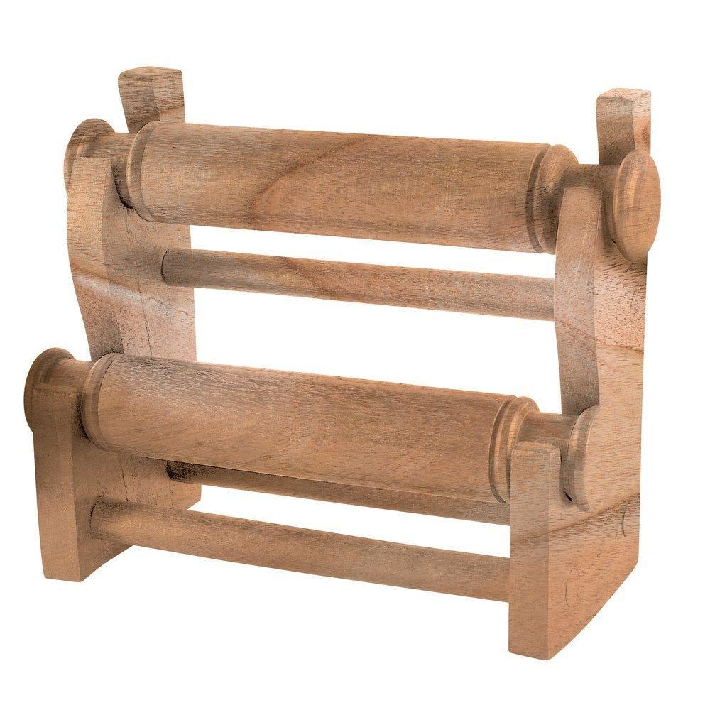Présentoir bracelets 2 niveaux en bois naturel L.30 cm (photo)