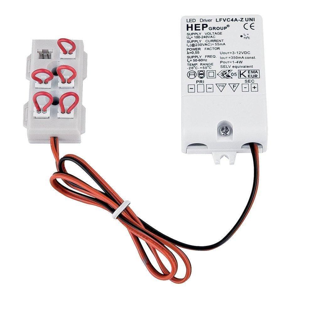 Transformateur led driver 350Ma avec 1 m de câble et prise de 6 w (photo)