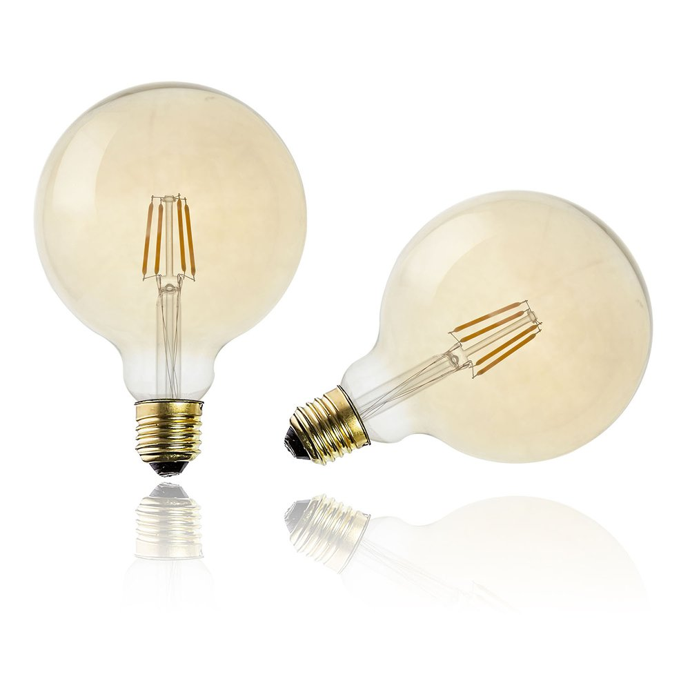Ampoule LED ambre droit G125 E27 (photo)