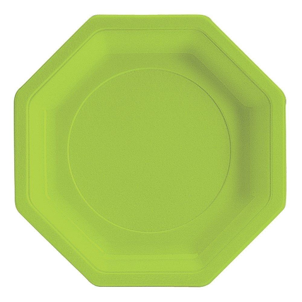 Assiette octogonale 24cm vert anis - par 50 (photo)