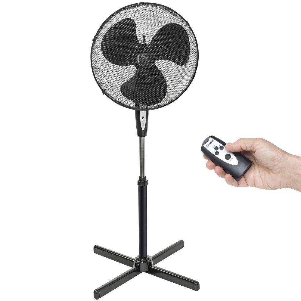 Ventilateur sur pied panier H.45cm 45 Watts noir avec télécommande
