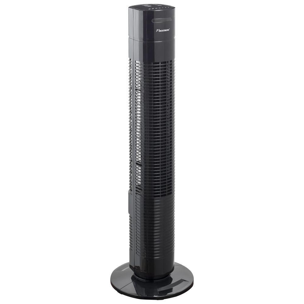 Ventilateur tour avec télécommande noir pivotant 35 Watts 3 vitesses H.78cm