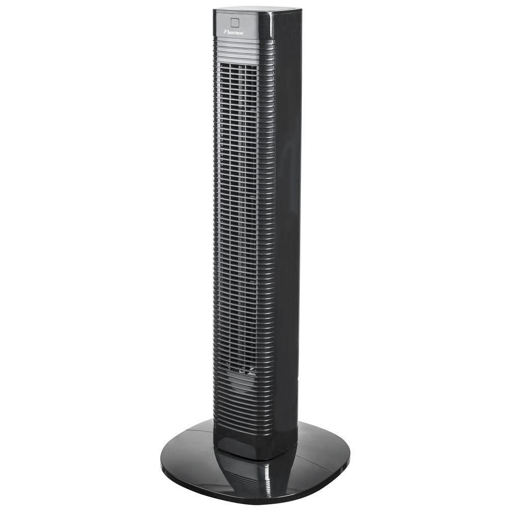 Ventilateur tour avec télécommande noir pivotant 50 Watts 3 vitesses H.80cm