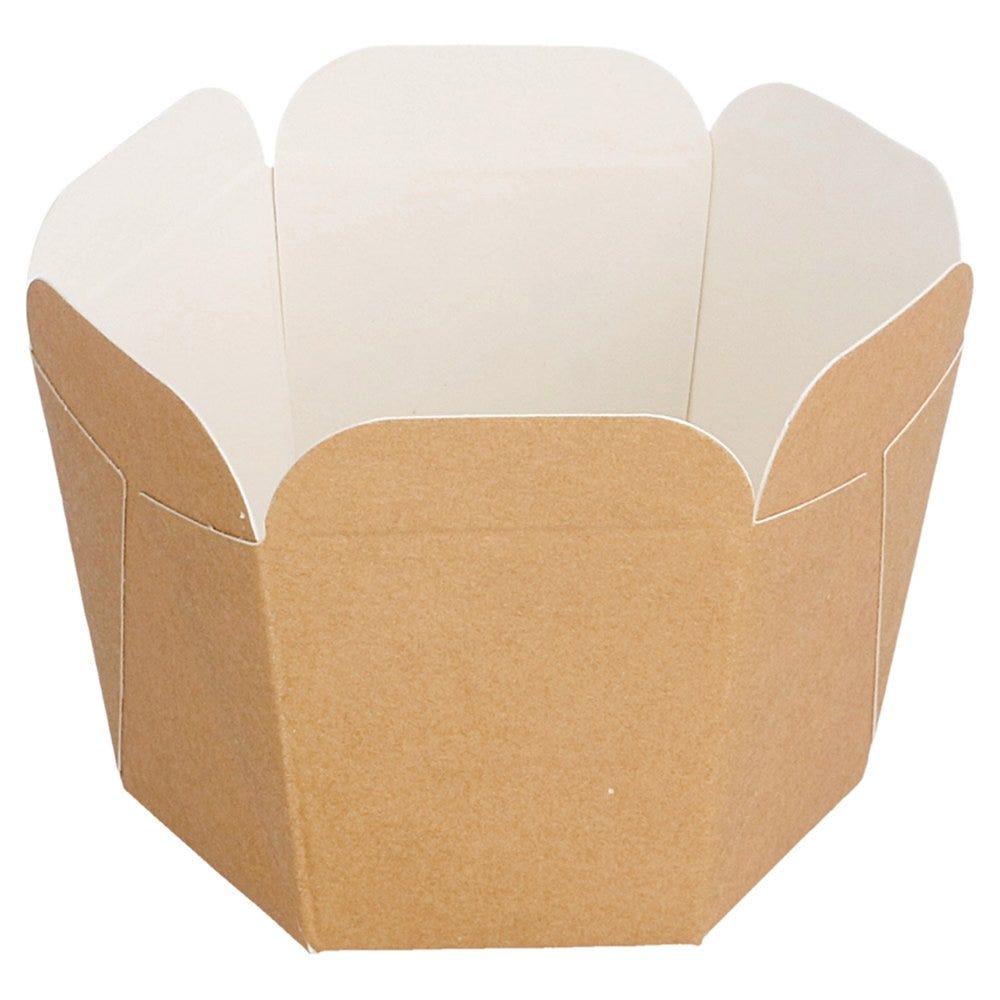 Barquette carton brun festonné 100ml 5x5x5cm - par 100