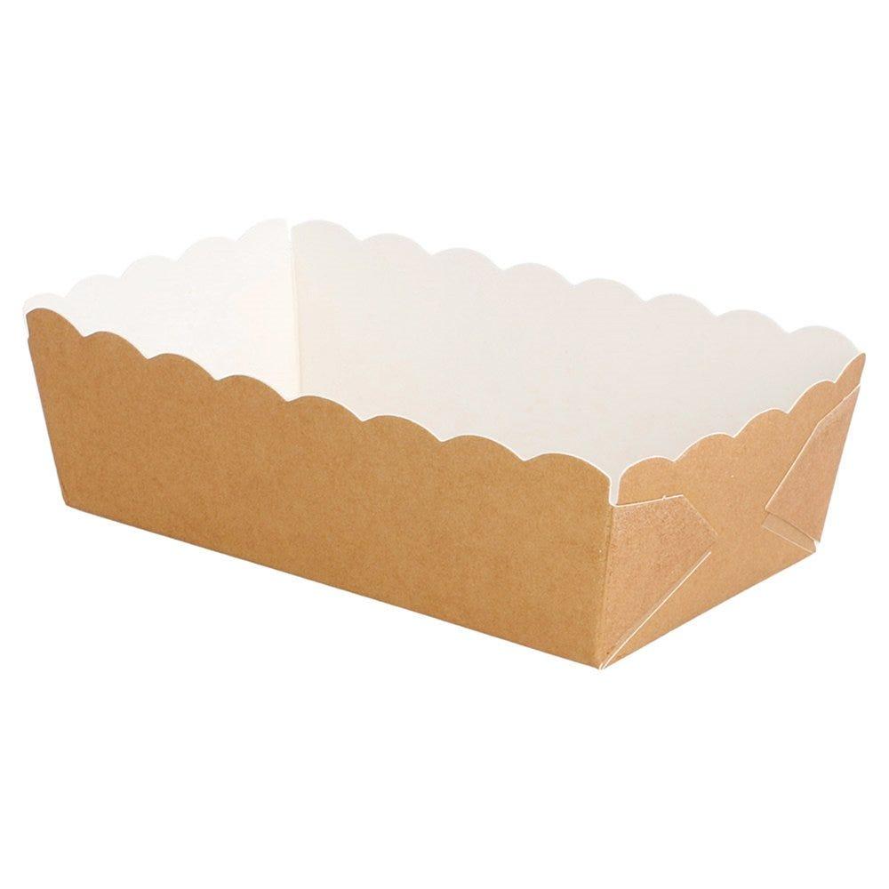 Barquette carton brun intérieur blanc 9x5x3,2cm - par 4000