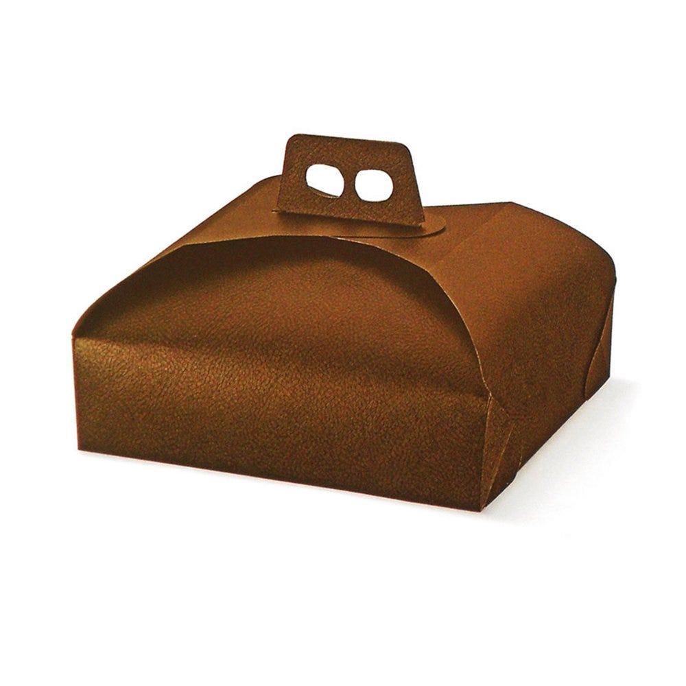 Boîte pâtissière à poignée marron 29x29x7cm - par 100
