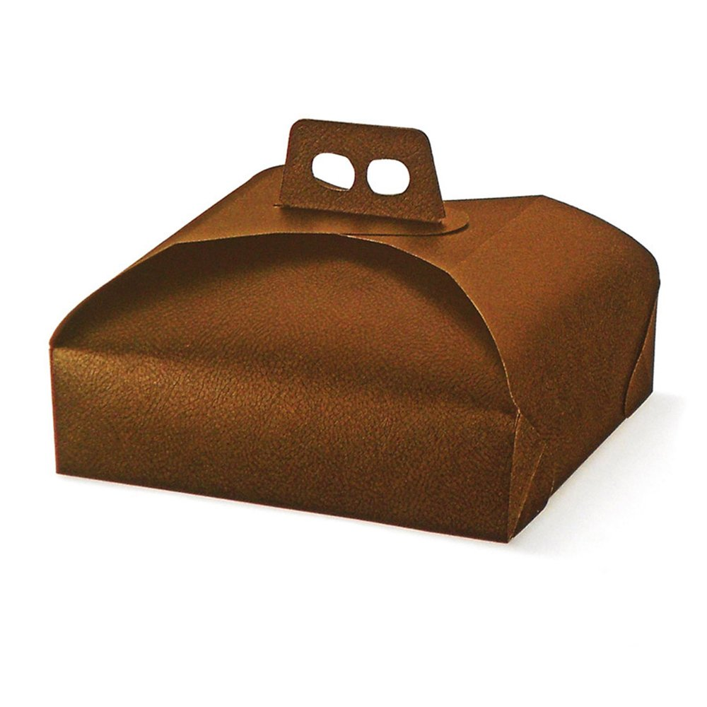 Boîte pâtissière à poignée marron 31x31x7cm - par 100