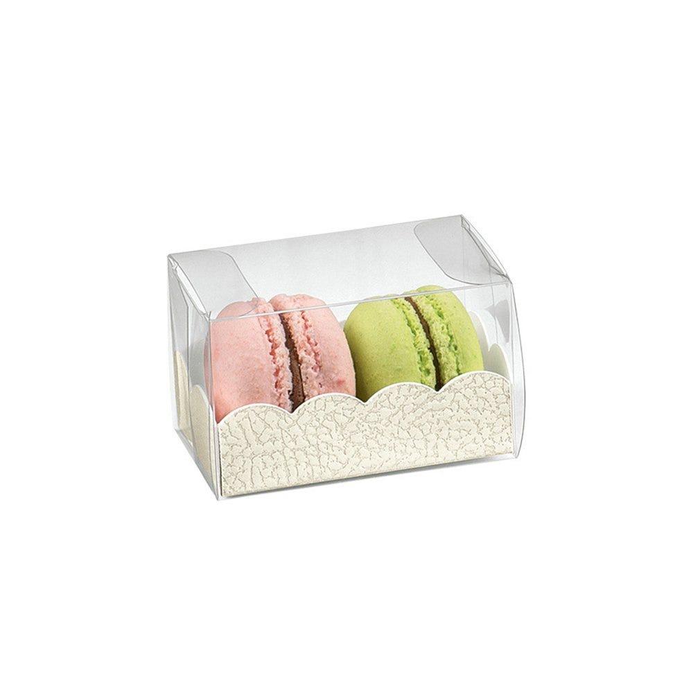Boite macarons PVC transparent et carton blanc 8x5x5cm - par 200