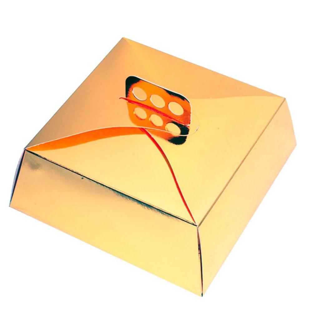 Boîte pâtissière à poignée or 32x32x10cm - par 50