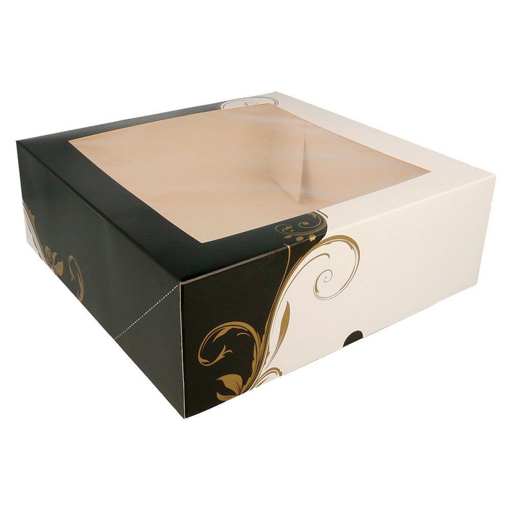 Boîte pâtissière à fenêtre Baroque 28x28x10cm - par 50