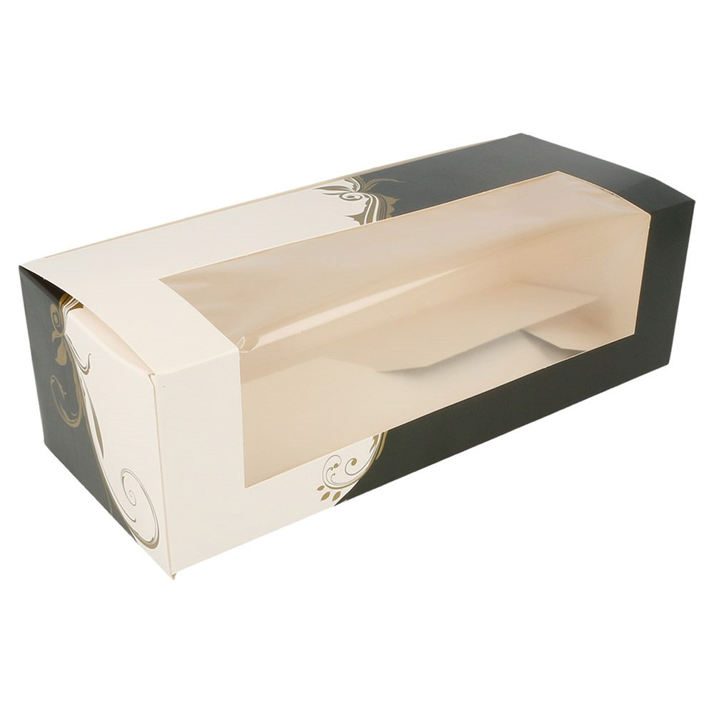Boîte pâtissière à fenêtre Baroque 26x11x8cm - par 50