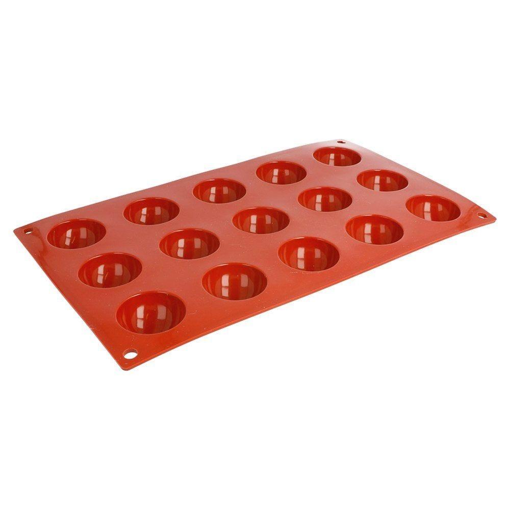 Moule 15 demi-sphères Ø4cm silicone rouge 17,5x30cm