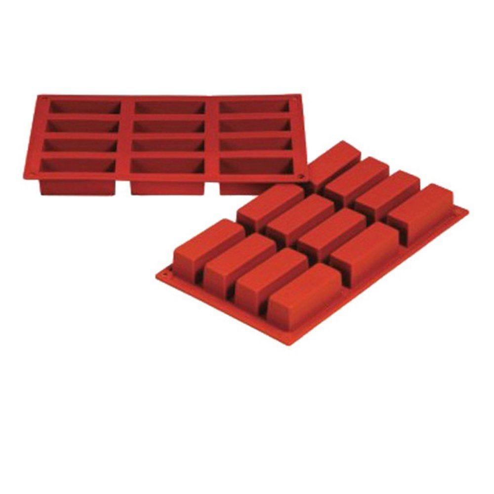 Moule à cake 7,9x2,9x3cm silicone rouge 17,5x30cm