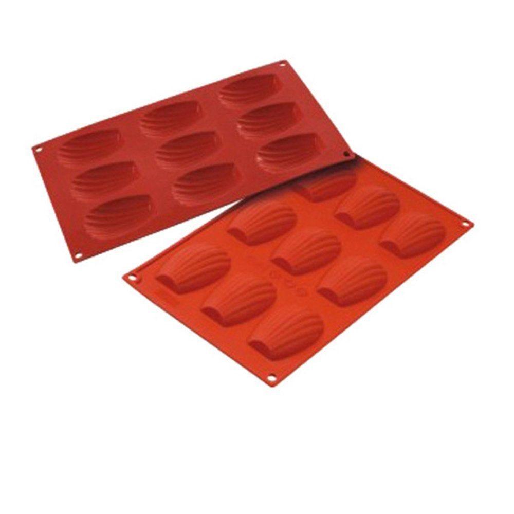 Moule à madeleines 6,8x4,5x1,7cm silicone rouge 17,5x30cm