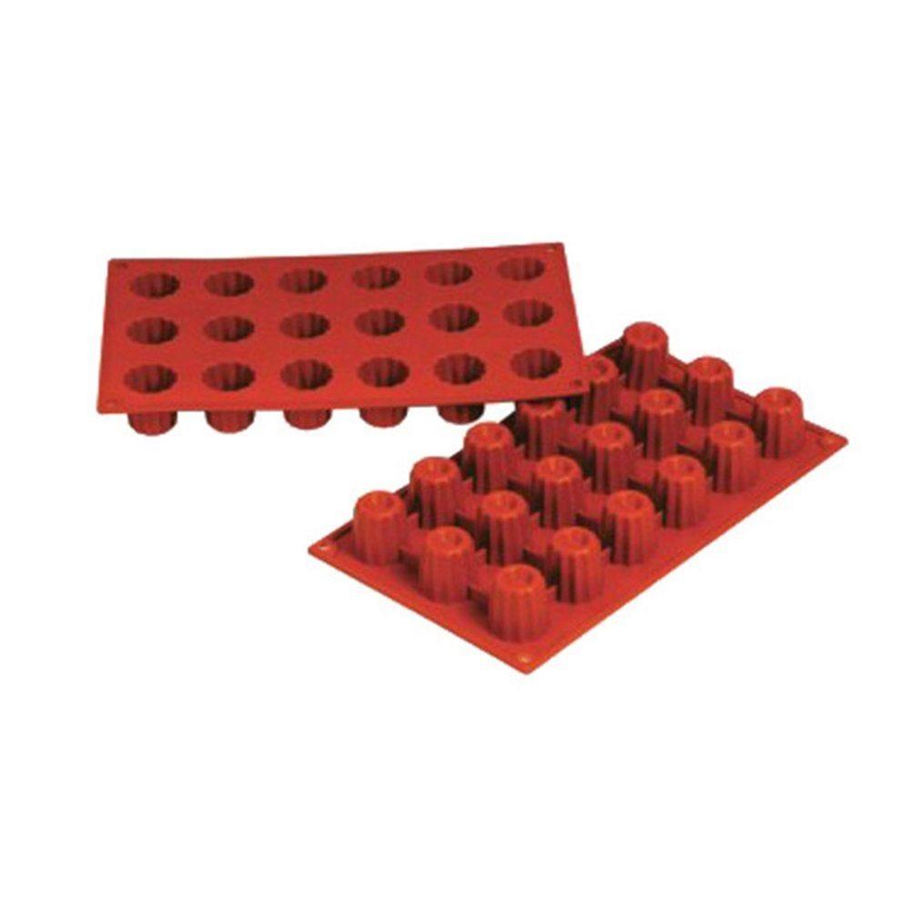 Moule à cannelés Ø3,5x3,5cm silicone rouge 17,5x30cm