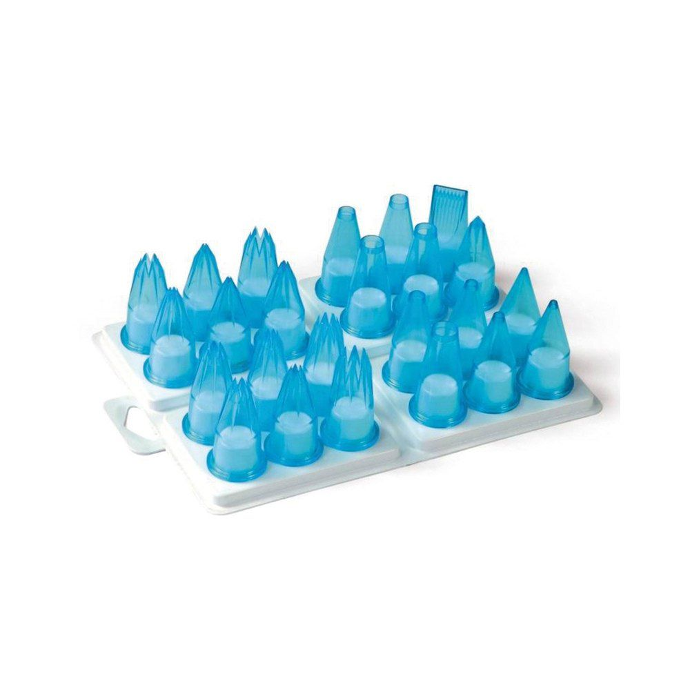 Douille assortie pour poche pâtissière plastique bleu - par 24