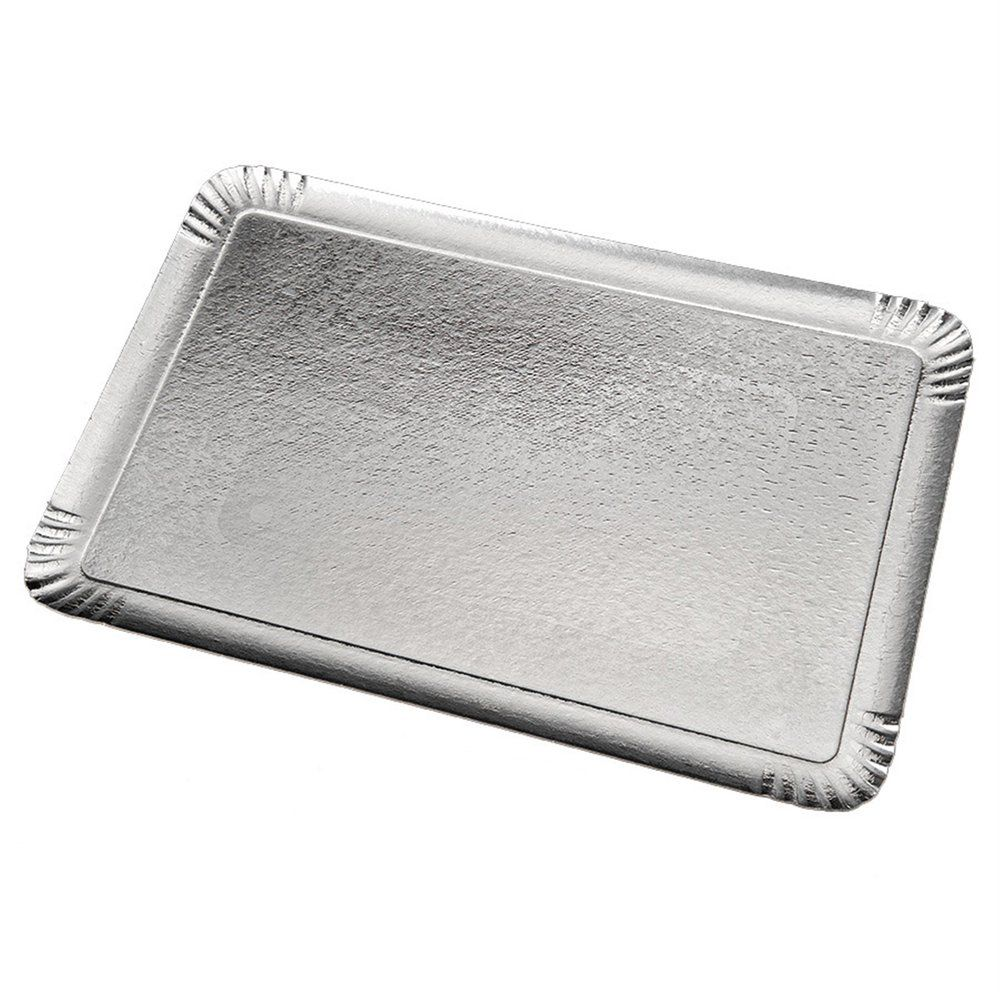 Plateau traiteur carton argent/or 19x28cm - par 100