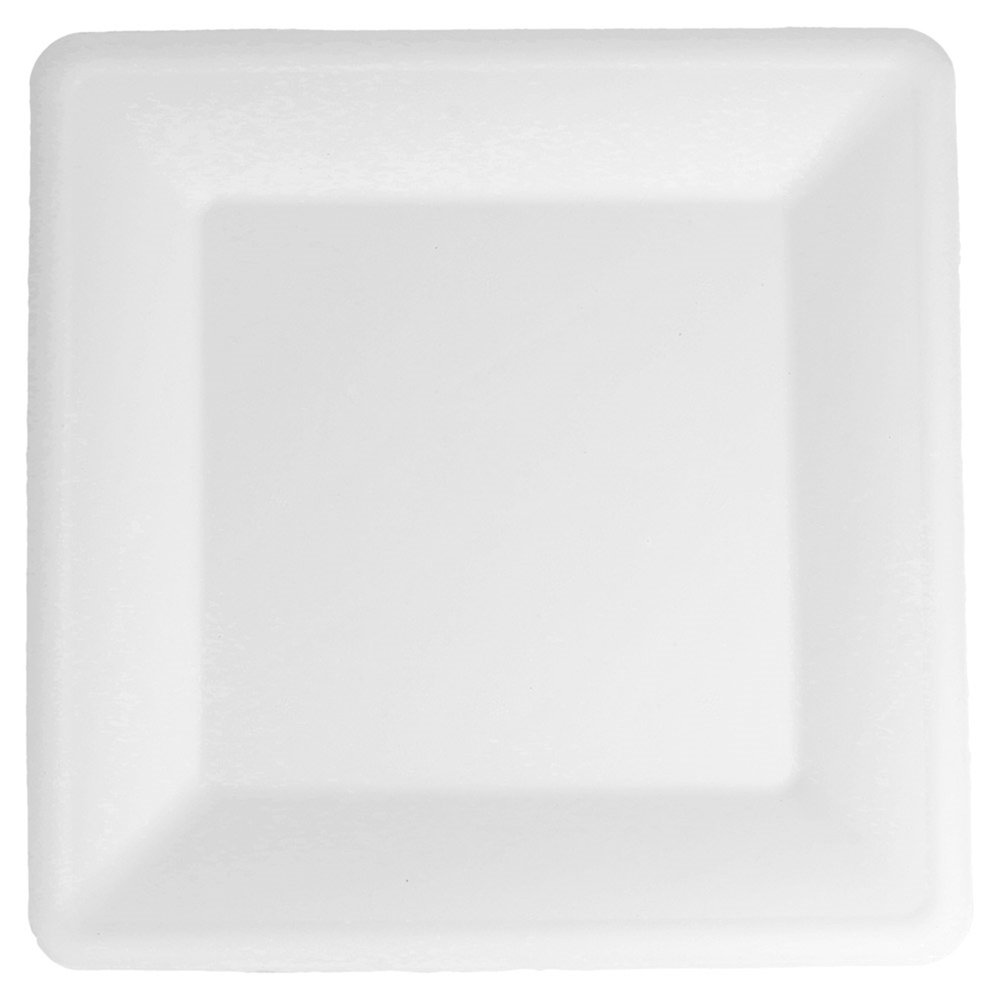 Assiette carrée bagasse blanche 26,2x26,2x1,9cm - par 300 (photo)