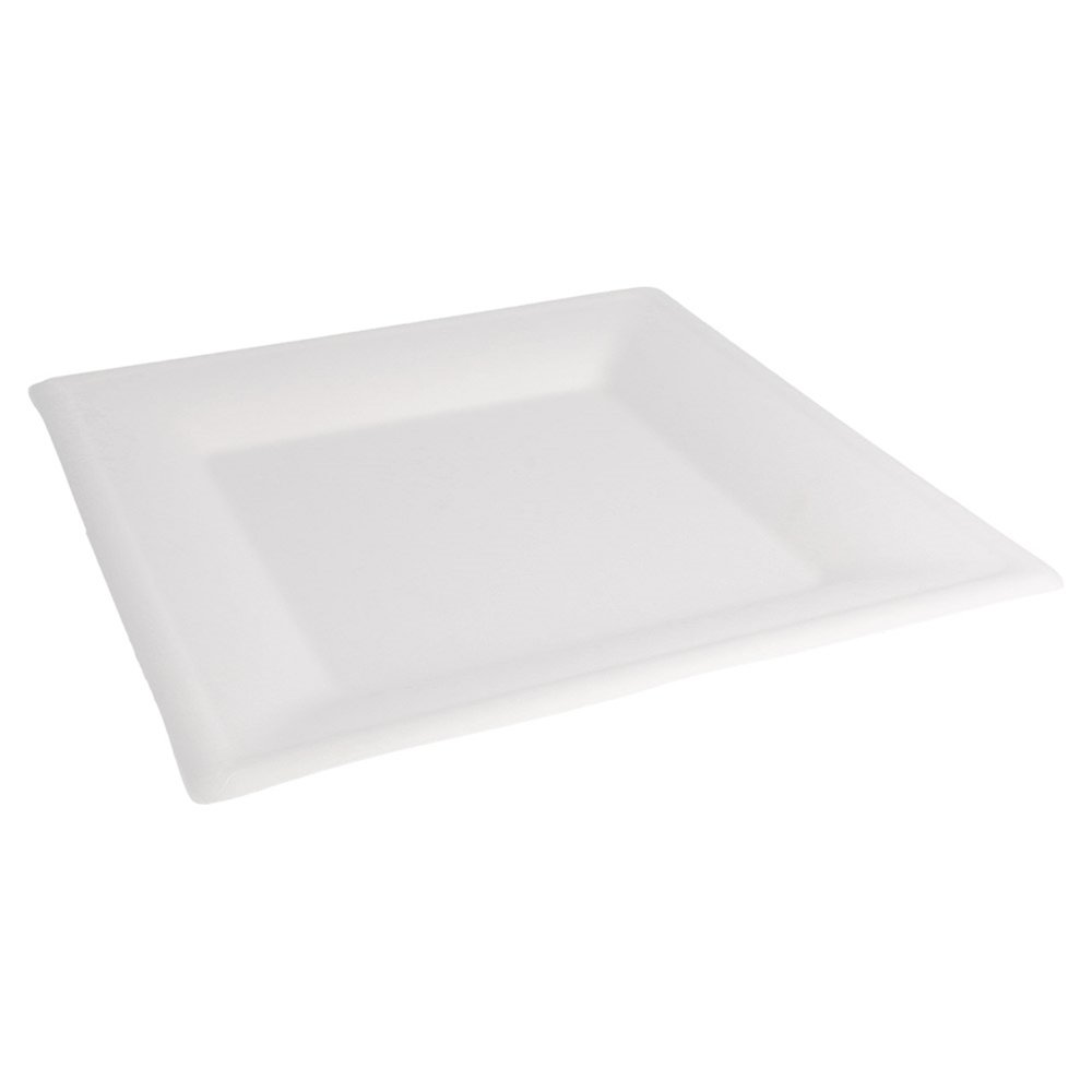 Assiette carrée bagasse blanche 26,2x26,2x14cm - par 500 (photo)
