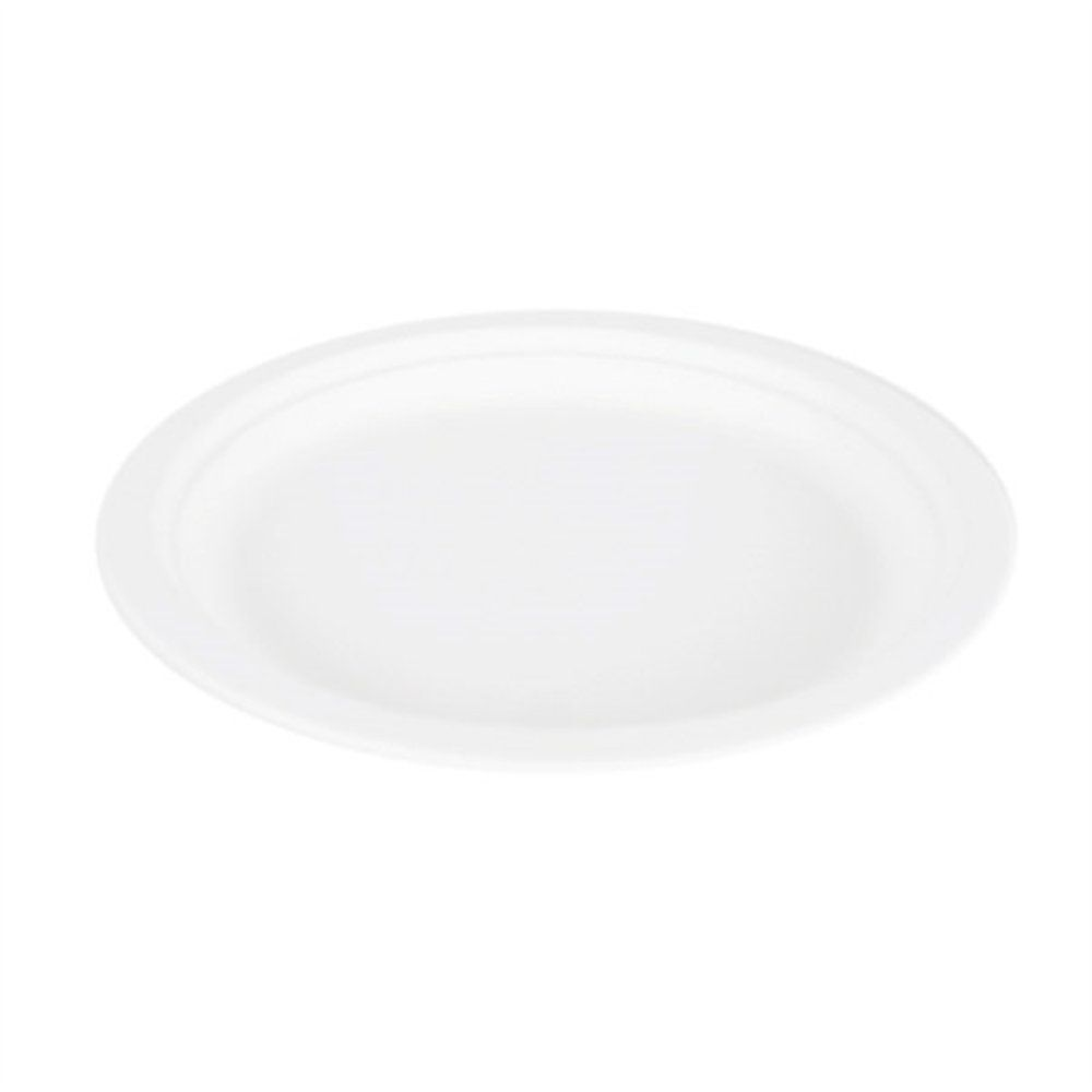 Assiette bagasse blanche diamètre 23x2cm - par 500 (photo)