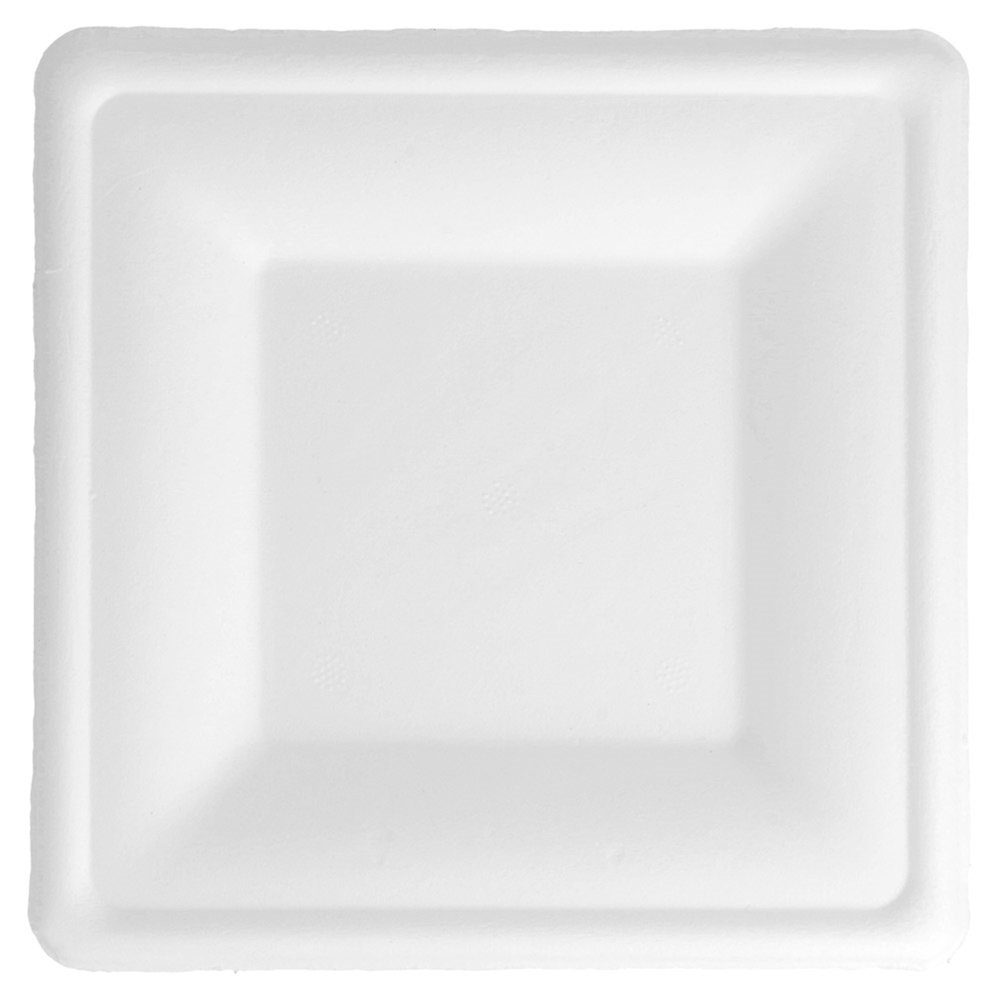 Assiette carrée bagasse blanche 16x16x1,5cm - par 500 (photo)