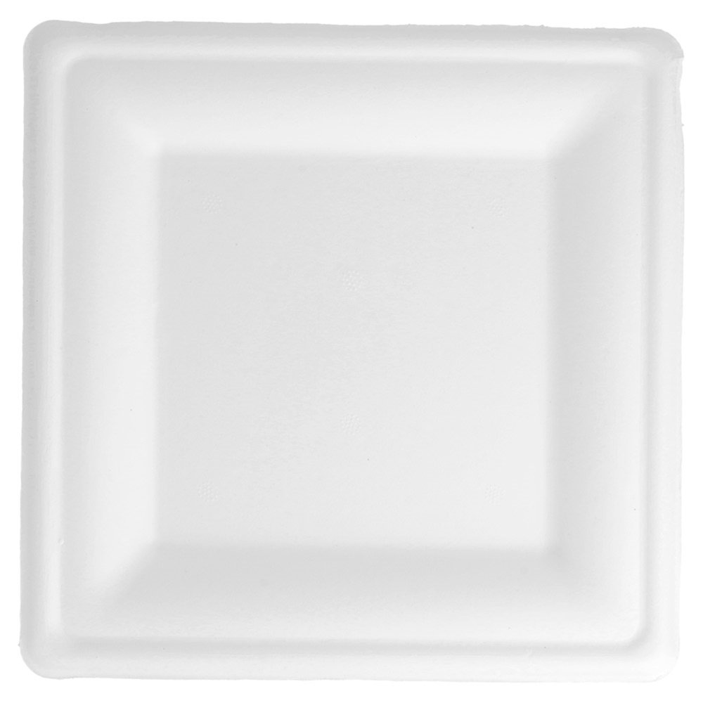 Assiette carrée bagasse blanche 20x20x1,5cm - par 500 (photo)