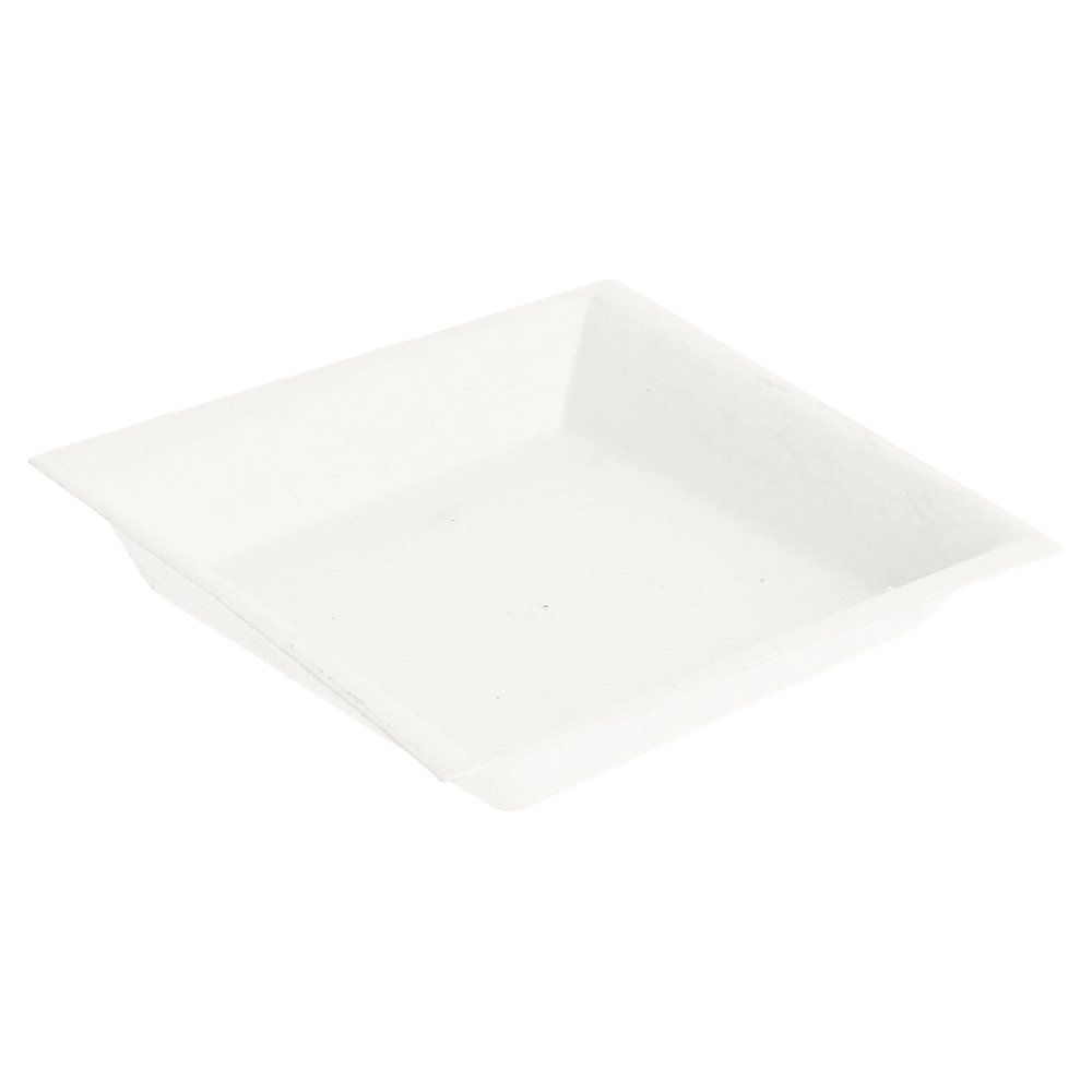 Assiette carrée bagasse blanche 9x9x1,5cm - par 1200 (photo)