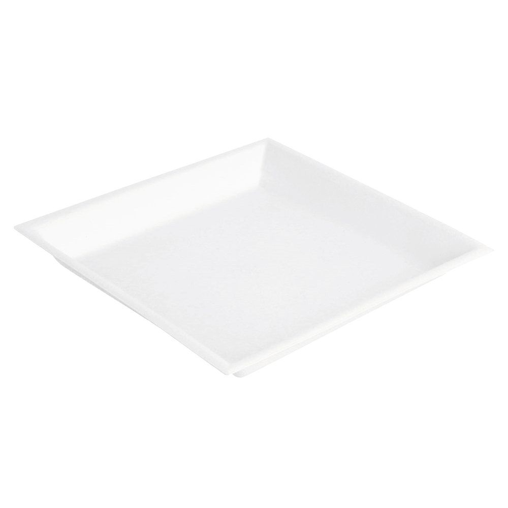Assiette carrée bagasse blanche 13x13x1,5cm - par 800 (photo)