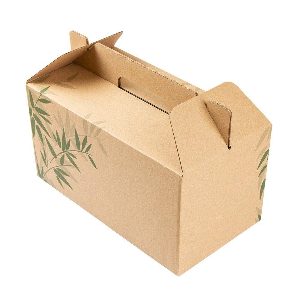 Boite menu à poignée Feel Green carton 24,5x13,5x12cm - par 100