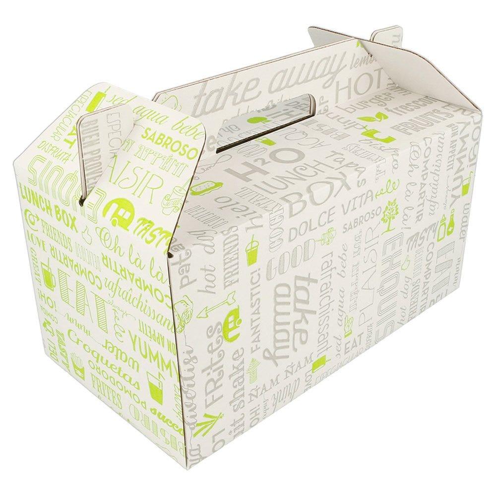Boite menu poignée Parole carton 24.5x13.5x12cm - par 100