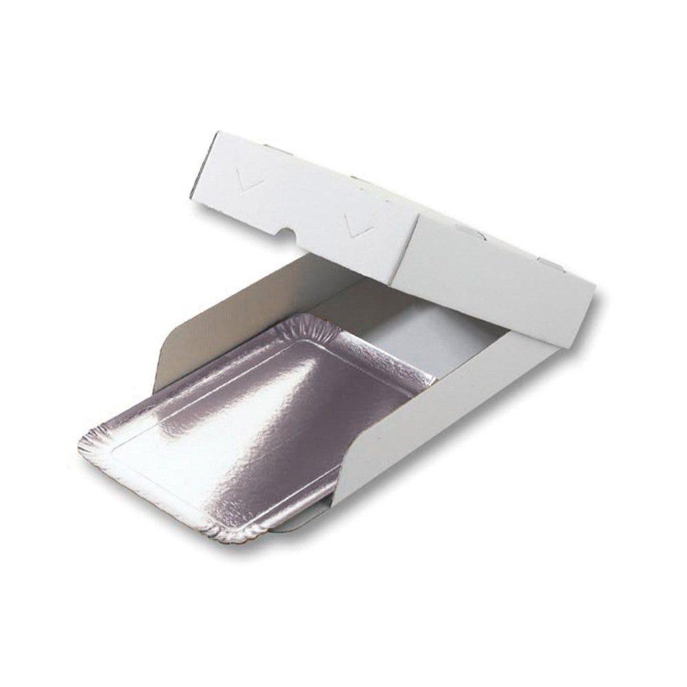 Boîte plateau traiteur carton microcannelure blanc 19x28x6cm - par 100