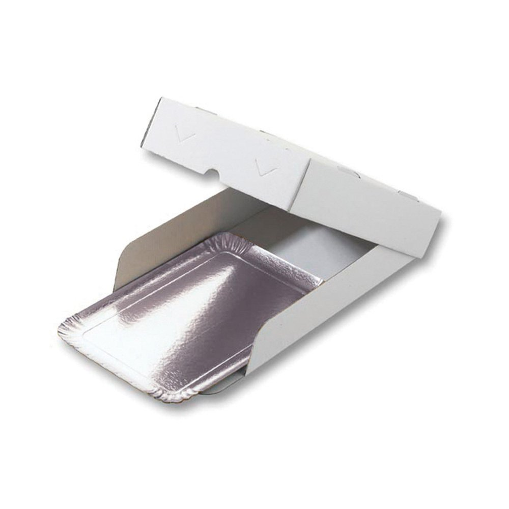 Boîte plateau traiteur carton microcannelure blanc 25x34x6cm - par 100